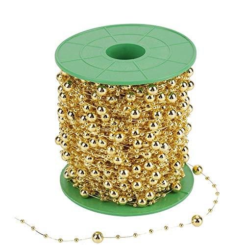 Perle Perlenrolle, 60 mt/rolle Galvanik Perle Draht Perlen String für DIY Hochzeit Dekoration für Blume Baum Girlande Brautstrauß 3mm + 8mm(golden) (Diy Hochzeit Dekorationen)