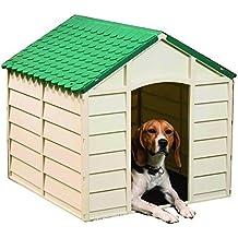 50701 Caseta de resina para perros 78 x85 x 80 cm en color verde