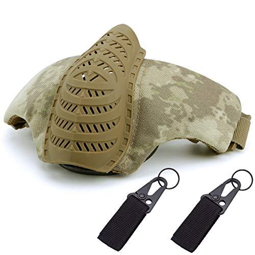 (QMFIVE Airsoft Halbe Gesichtsmaske, Taktische Maske mit Gehörschutz Jagd Paintball Military Motorrad Cosplay Film Prop(at))