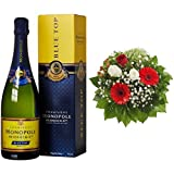 Monopole Heidsieck Blue Top Brut Champagner + Blumenstrauß Gruß von Herzen