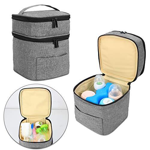 Luxja Kühltasche für Babyflasche (Für 4 Flaschen, bis zu 150 ml), Doppelschicht Kühltasche für Muttermilch und Flaschenset (Nur Tasche), Grau