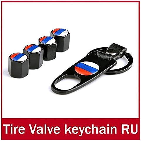 rexul (TM) diseño de bandera de Rusia coche rueda neumático válvula tapas de aire el polvo + llavero bandera de válvulas para neumático neumático
