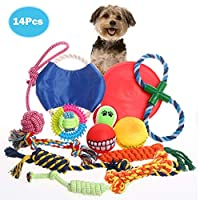 RAIN QUEEN Dog Rope Toy for Aggressive Chewers, Toy Rope for Dogs,100% Natural Cotton Dog Chew Toys Set, Durable and Washable, Tough Dog Toys for Medium &Small Dogs, Chew Teeth Cleaning Toys 14 Pcs