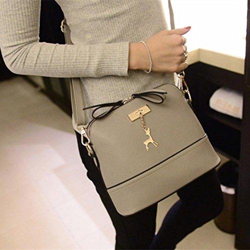 Yogogo Femmes Messenger Sacs New Vintage Petit sac en cuir coque Casual Sac à Gris