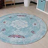 Waschbarer Teppich in Türkis Vintage Rokoko Style Teppiche für Küche Bad Flur mit rutschfestem Latexrücken mit Kelim Kilim Oberfläche hochwertig gewebt Oval und Rund (Oval 120cm x 180cm)
