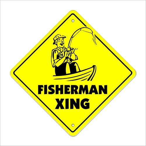 Fisherman Xing Crossing Sign Zone Xing |-| 30,5cm Hoch
