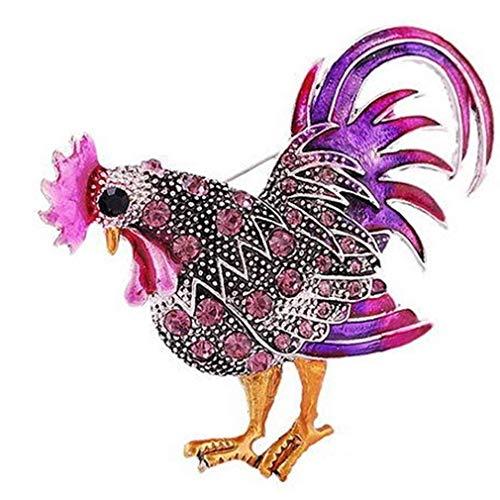 Carry stone Vintage Rooster Brosche Cock Pins Revers Brosche Strass Tier Multicolor Realistic Unisex Kleidung Rucksäcke Dekor nützlich und praktisch
