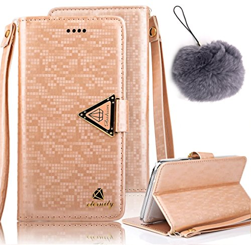 Vandot 3 in 1 Accessories Set Luxury 3D Bling Glitter Strass Custodia in Pelle per iPhone 8 Plus / iPhone 7 Plus Diamante Fiocco Portafoglio Protettiva Cuoio Flip Cover,Modello Stampata Design Farfall Diamants-7