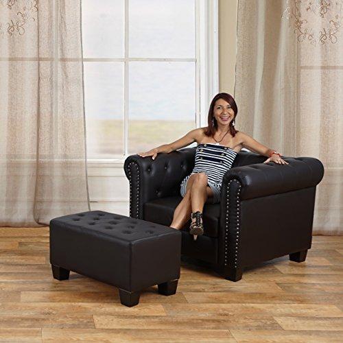 Luxus 3er Sofa Loungesofa Couch Chesterfield Kunstleder ~ runde Füße, schwarz - 5