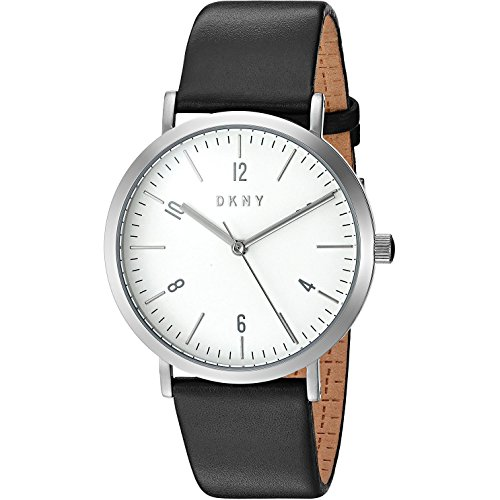 DKNY Women's 36mm Black Leather Band Steel Case Quartz White Dial Analog Watch NY2506