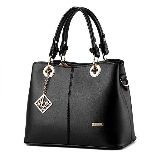 HQYSS Borse donna Dolce signora atmosferica moda PU pelle donne sezione verticale tracolla Messenger Handbag , days blue black