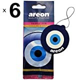 Areon Désodorisant Voiture Bubble Gum Oeil Bleu Mignon Maison Bureau Forme Oriental Nazar Amulette Rétroviseur 2D ( Bubblegum Blue Eye Lot de 6)
