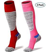 Hibbent 2 Pares Calcetines de Esqui Mujer Deportes de Invierno Térmico Largo Medias de Thermolite para