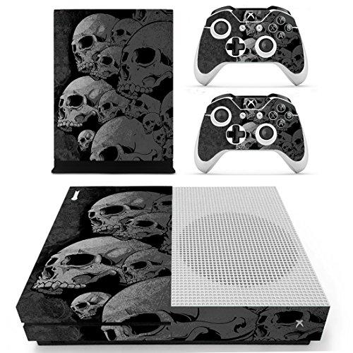 Pandaren® pieno sticker della pelle skin per le Xbox One S console x 1 e controller x 2 e kinect x 1(teschio nero)