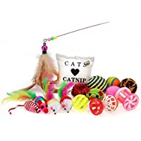 Purr Paw Cat Toys & Kitten Variety Pack [16pcs] Including Mice, Balls and Bells