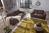 SAM® Sofa Garnitur Aviano 2tlg. Polstergarnitur in braun aus Stoff, abgestepptes Design, pflegeleichte Oberfläche, sehr hoher Sitzkomfort Sofalandschaft bestehend aus 1 x 2-Sitzer + 1 x 3-Sitzer Lieferung montiert per Spedition