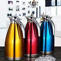 BGmdjcf Continental caraffa thermos per uso domestico in acciaio inossidabile beuta da vuoto della capacità di hot pot bricco caldo pentola di acqua calda bottiglia 2 all'aperto 2L, oro l
