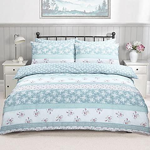 Single Reversible 3 Pieces Duvet Quilt Cover Set With Matching Pillow Cases Bedding Set Hotel Quality Luxury Polycotton 50/50% (Single, Patchwork Floral