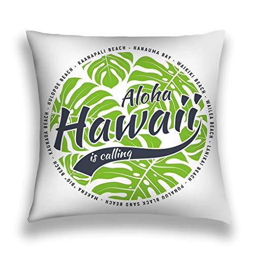 zexuandiy Kissenbezüge Cotton Velvet Square Throw Pillow Case Decorative Cushion Cover Pillowcase for Sofa 18 X 18 Hawaii Print Tropical Leaves Design Stamp Label Typography -