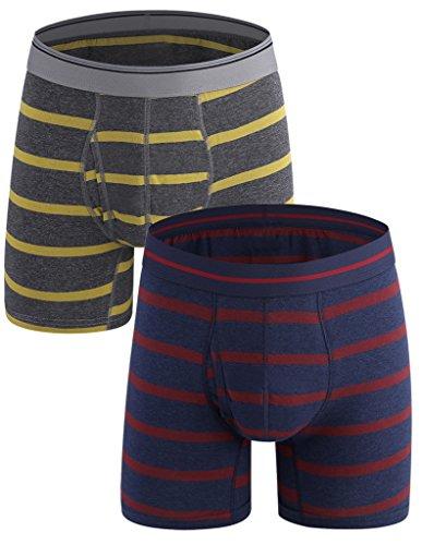Emil Comfort Stripe Boxer Briefs Cotone Intimo colorato mens Scuro Blu-rosso, scuro Giallo-grigio