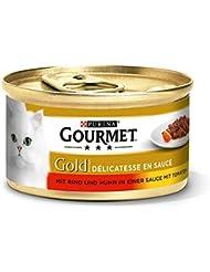 Gourmet Gold Katzenfutter Delicatesse en Sauce mit Rind und Huhn in Tomatensauce, 12er Pack (12 x 85 g) Dosen