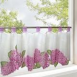 Gardinenbox Hortensias para cocina y Salón/Primavera de verano–Cortina con diseño de flores/45x 120cm/Moderno Transparente Bistro cortina para la cocina