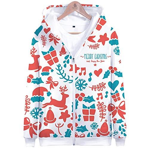 edbc15fa365 QMKJ Unisex Feliz Navidad 3D Impresiones Pico Pullover Mens Hoodie  Cremallera Lana Felpa Sudadera Jumper Chaqueta
