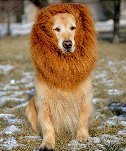 Imagen de peluca de león para perro, bliplus león melena pelo peluca con orejas gato cachorro mascotas ropa sombrero dress disfraces costume para navidad fiesta alternativa