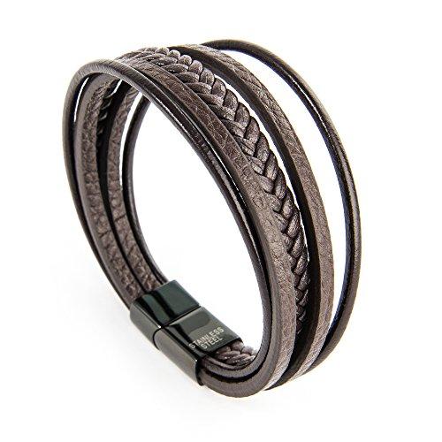 Premium Lederarmband geflochten in Braun Echtleder und Edelstahl mit Magnetverschluss Länge: 22 cm | von Konzept54