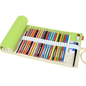 Damero Design Canvas Wrap Holder for Colored Pencil, Roll Case for Pencils, Travel Organizer Pouch for Artist, Multi-purpose (No Pencils Included), 72 Holes, Light Green by Damero