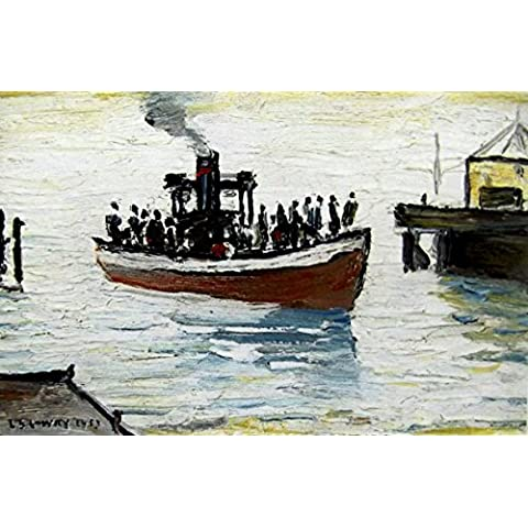 L S Lowry specialità Stampa/Picture–Yacht–su una struttura in lino, misura media, Walnut Finish Frame With Soft White Mount And Small Image, 14 x 11inch