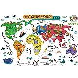 KAKAKOOO Cartoon Tiere Weltkarte Wandsticker für Kinderzimmer Kinderzimmer-Wand-Kunst-Geografie Themed Nursery Décor 1 PCS