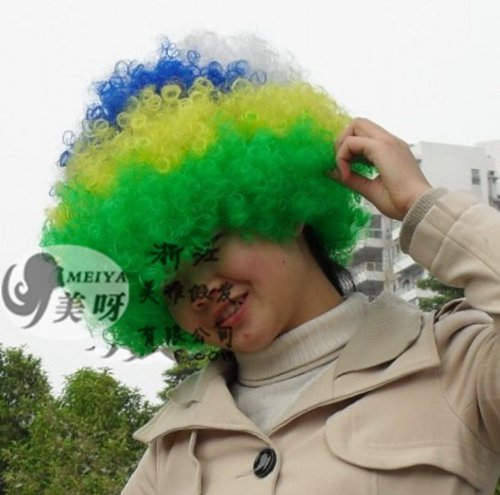 Brasile Nazione Football Fans Supporter Forniture Afro Wig Costume Cosplay