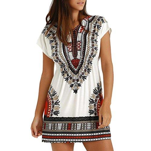 AMUSTER Damen Kurze Kleider Strandkleid Minikleid Tunika Vintage Bohemian Strandtunika Sommer A-Linie Kleid Damen Sommer Kleid Kurzarm Ethnisch Mischfarben Bluse Shirt Kleid (L, Weiß) -
