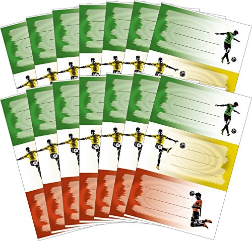 2 Schulset Buchetiketten Fußball (Vorteils-Pack) 42 Aufkleber (Pack Fußbälle)