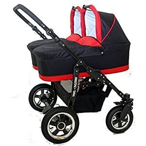 Complete Twin Pram - Carrycots, Chairs and Accessories - Black + Red   2