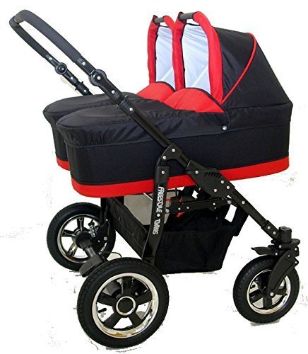 Complete Twin Pram - Carrycots, Chairs and Accessories - Black + Red BBtwin Colour: black + red. Includes 2 carrycots and 2 chairs plus leg cover, carrycot covers, bag backpack, lower basket, 2 plastic rain covers and 2 fly nets. - High-quality pneumatic, swivelling and shock-absorbent wheels. 1
