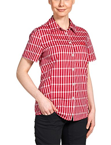 Jack Wolfskin Damen Bluse River Shirt Women, Indian Red Checks, L, 1400991-7286004 (Check-polo-t-shirt)