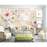 Hlonl 3D Tapete Europäisch Geprägte Blumen 3D Quadrat Fernseher Hintergrund Home Decoration Wohnzimmer Schlafzimmer Mural Tapete 3D-350X250CM
