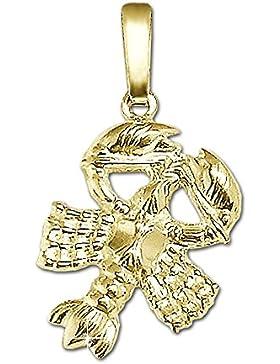 CLEVER SCHMUCK Goldener Anhänger Sternzeichen Krebs 15 mm glänzend und beidseitig plastische Form 333 GOLD 8 KARAT