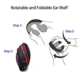 Gifts Treat Ear Warmers, Unisex Winter Foldable Ear Muffs Back Worn Stylish Cozy Earmuff Woolen Classic Plaid