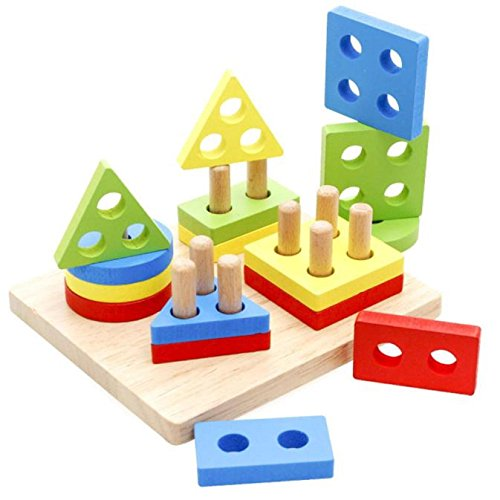 Juguete Del Bebé, Oyedens juguetes educativos de la infancia de los niños primeros poste de madera forma de la geometría de