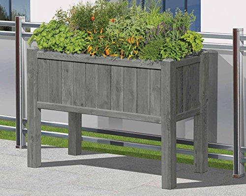 Gartenpirat Hochbeet Kräuterbeet grau aus Holz 109x46x80 mit Pflanzkasteneinsatz für Balkon
