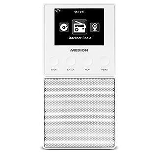 MEDION E85032 WLAN Internet Küchen Steckdosenradio (Abnehmbarem Streaming Lautsprecher, integriertes Netzteil mit Ladefunktion, DLNA, UPnP, Steuerung per App) weiß