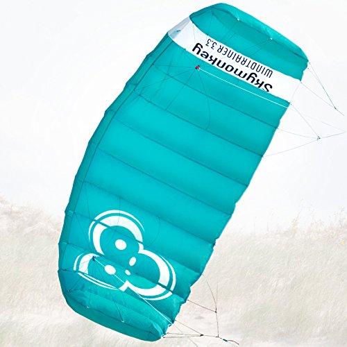 Skymonkey Windtrainer 3.3 Trainer-Kite/Lenkmatte 4-Leiner (inkl. Trainerbar) Ready 2 Fly- 330 cm [Petrol]