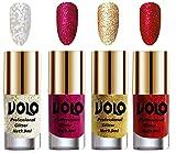 #3: Volo Professionally Used Glitter Shine Nail Polish Combo Pack of 4(White Nail Art And Glitter, Magenta Glitter, Golden Glitter, Red Glitter)