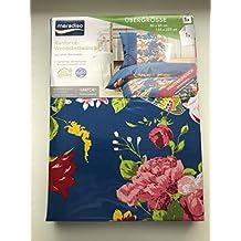 Meradiso Renforcé Biancheria da letto Reversibile, 155x 220cm Blu Floral oversize Top qualità