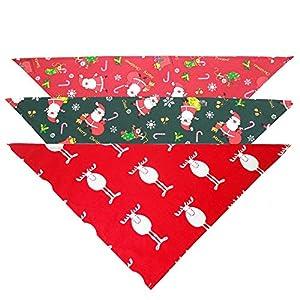 Bandana à Sangle réglable en Triangle Cadeau de Noël pour Animaux de Compagnie Saliva Serviette Coton Triangle Echarpe Echarpe Bijoux Chat Et Chien, 3 Pièces. pour Chiens et Chats
