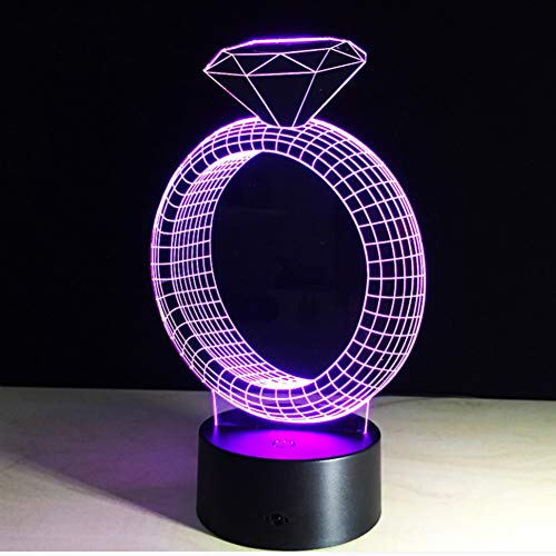 WZYMNYD Bedside Decor Lighting 7 Bunte Veränderbare Romantic NightLight 3D Usb Diamant Ring Touch Schreibtischlampe Led Schlaf Beleuchtung Leuchten -