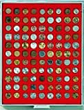 Münzenbox mit 99 Vertiefungen á 19 mm (Lindner 2199), z.B. für 1 Pf., 5 Pf., 1 Euro-Cent, 10 Kronen Österreich (Gold), 10 SFRS Vreneli (Gold), 10 CHF - Ausführung: Standard